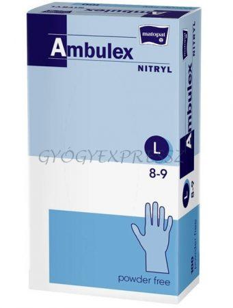 AMBULEX Nitril Gumikesztyű Vizsgálókesztyű Púdermentes L-es méret 100 db