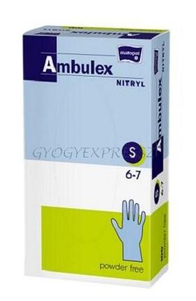 AMBULEX Nitril Gumikesztyű Púdermentes orvosi kesztyű 100 db S-es méretben