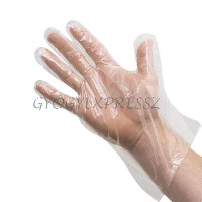 Fólia kesztyű polyetylen M méret 100 db